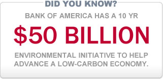 Did you know? Bank of America has a 10 year, $50 billion environmental initiative to help advance a low-carbon economy.