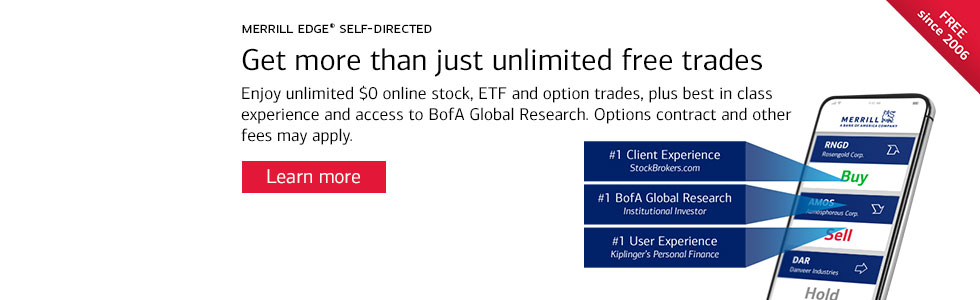 Get more than just unlimited free trades. Enjoy unlimited 0 dollar online stock, ETF and option trades, plus best in class experience and access to BofA Global Research. Options Contract and other fees may apply. Learn more. Free since 2006.